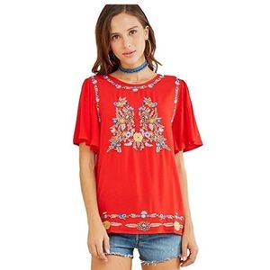 Flutter Sleeve Tunic With Floral Embroidery